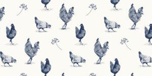 Print kippen blauw