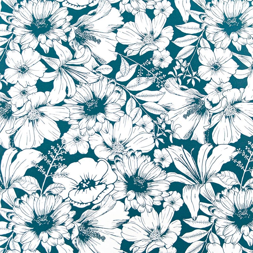 Behangpapier teal FLOWERS IN BLOOM