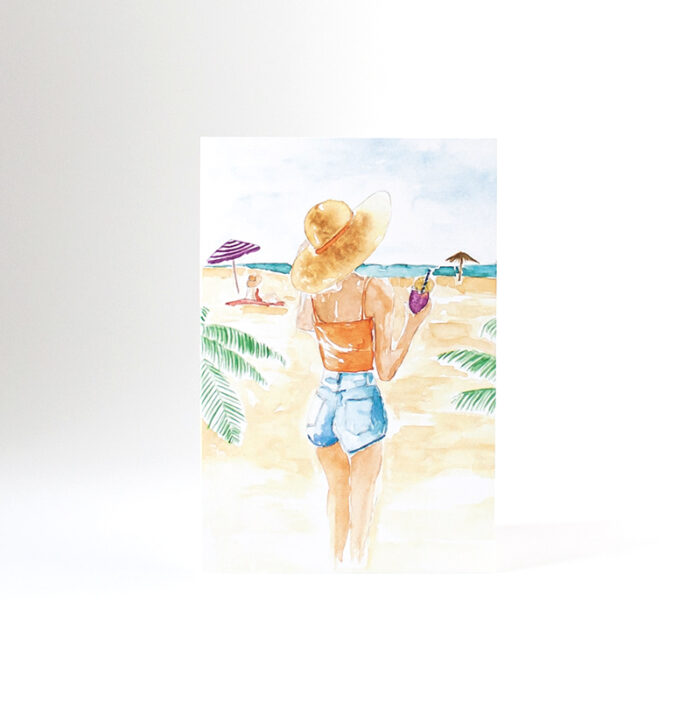 kaart aquarel beach girl