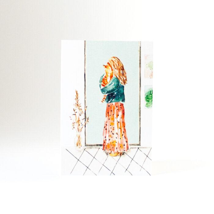 kaartje cat lady aquarel