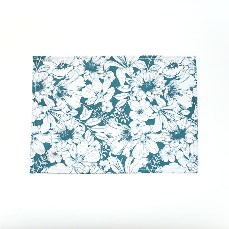 placemat bloemen teal green