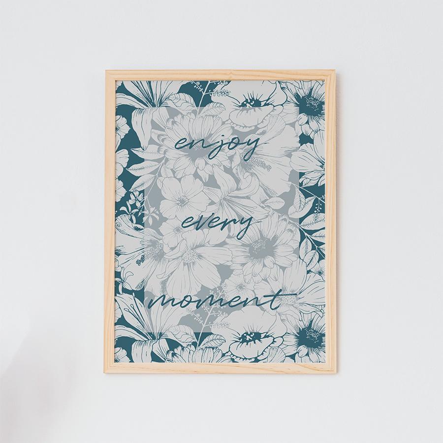 art print met bloemen quote