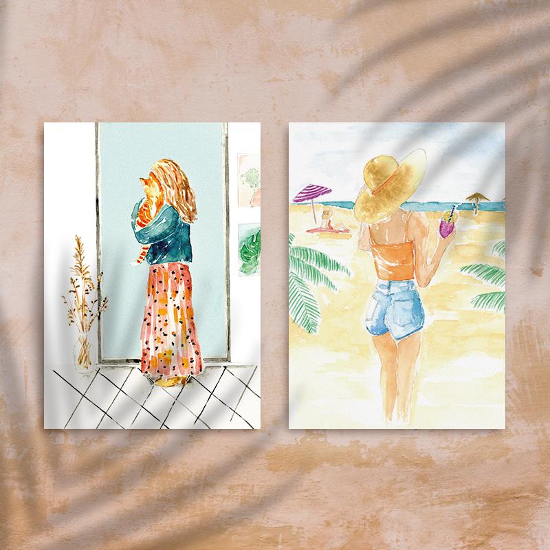 aquarel kaarten set van 2