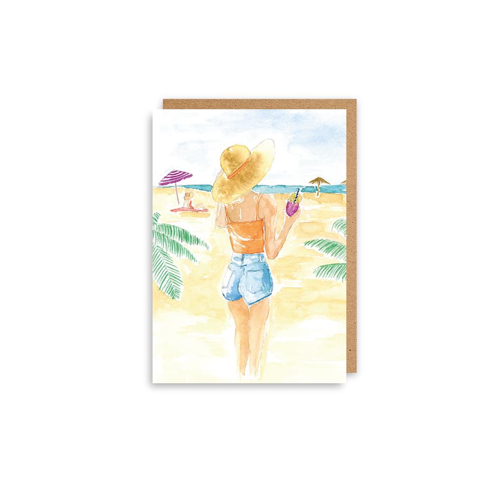 kaart aquarel beach