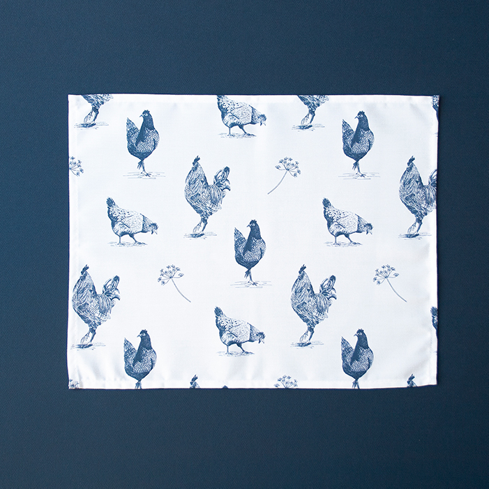 Placemat kippen blauw