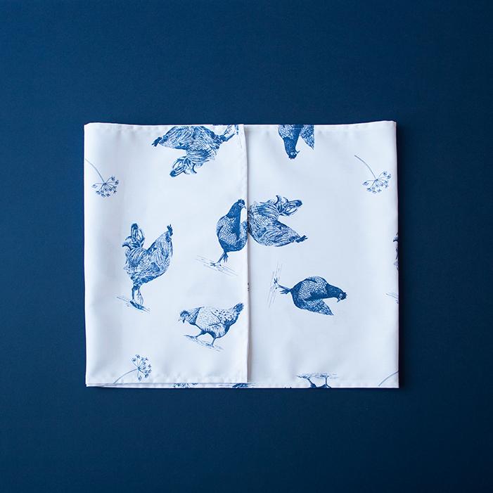 tafelloper kippen blauw