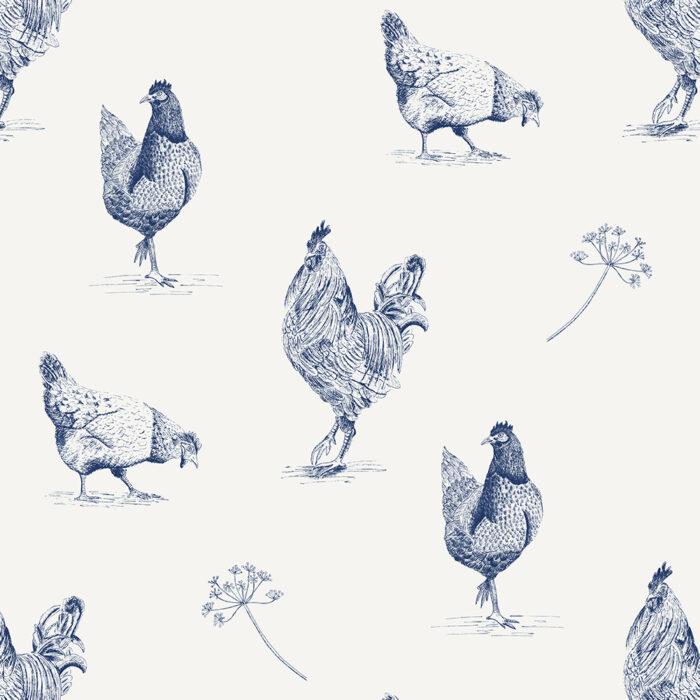 origineel behang met kippen