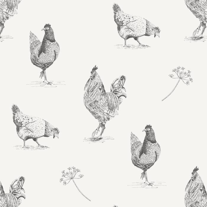 behang met kippen
