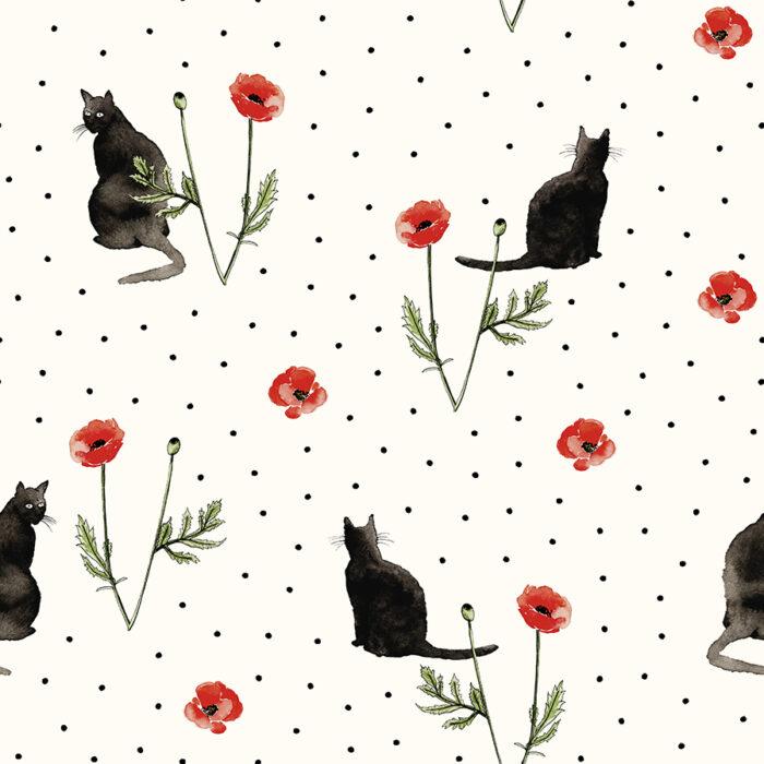 Katten behang cats en poppies