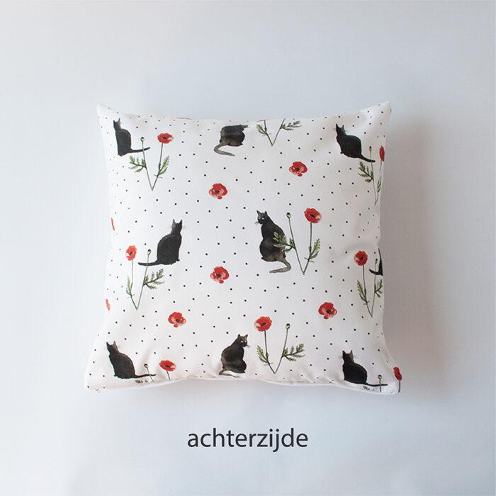 Sierkussens poezen print cats en poppies