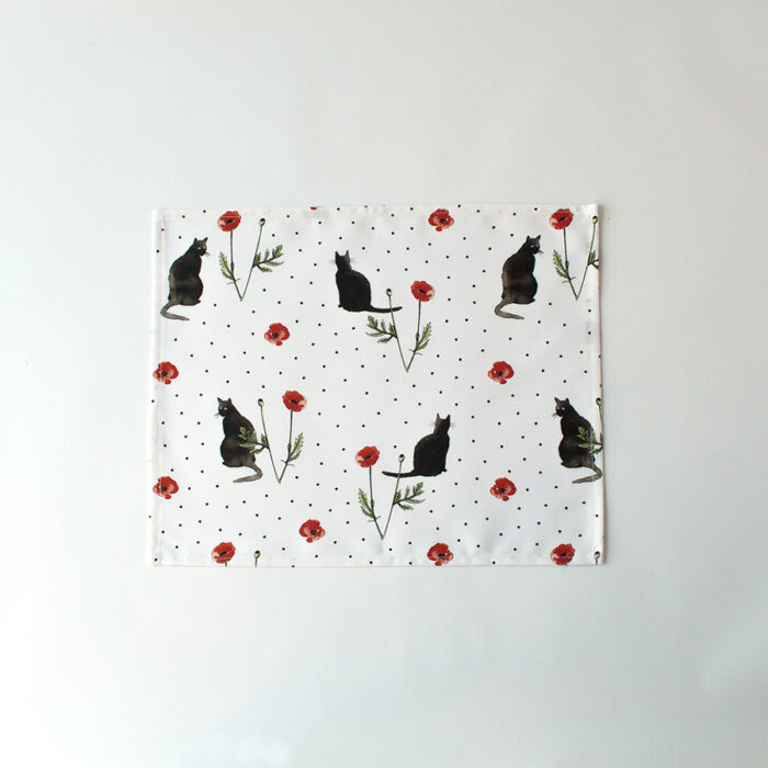 Placemat cats & poppies