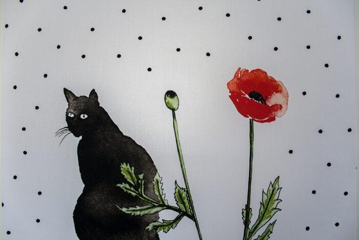 Stof textielposter cats en poppies